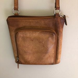 Vintage Fossil Distressed Leather Crossbody Bag